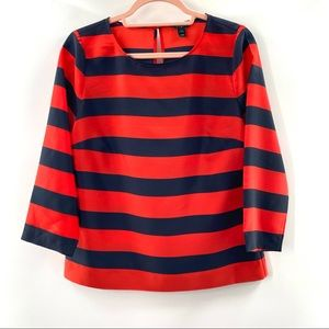 J. Crew Red and Navy Striped Blouse